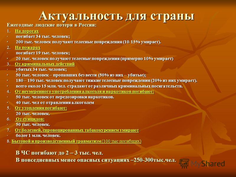 Актуальность для страны Ежегодные людские потери в России: 1. На дорогах · погибает 34 тыс. человек; · 200 тыс. человек получают телесные повреждения (10-15% умирает). 2. На пожарах · погибает 19 тыс. человек; · 20 тыс. человек получают телесные повр