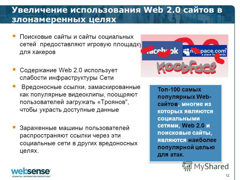 Увеличение использования Web 2.0 сайтов в злонамеренных целях 12 Поисковые сайты и сайты социальных сетей предоставляют игровую площадку для хакеров Содержание Web 2.0 использует слабости инфраструктуры Сети Вредоносные ссылки, замаскированные как по