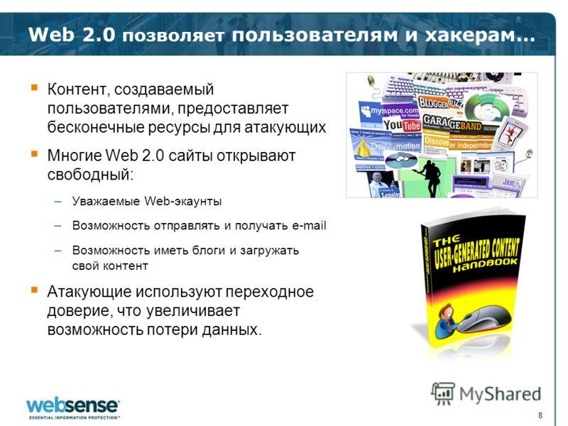 Web 2.0 позволяет пользователям и хакерам… Контент, создаваемый пользователями, предоставляет бесконечные ресурсы для атакующих Многие Web 2.0 сайты открывают свободный: –Уважаемые Web-экаунты –Возможность отправлять и получать e-mail –Возможность им