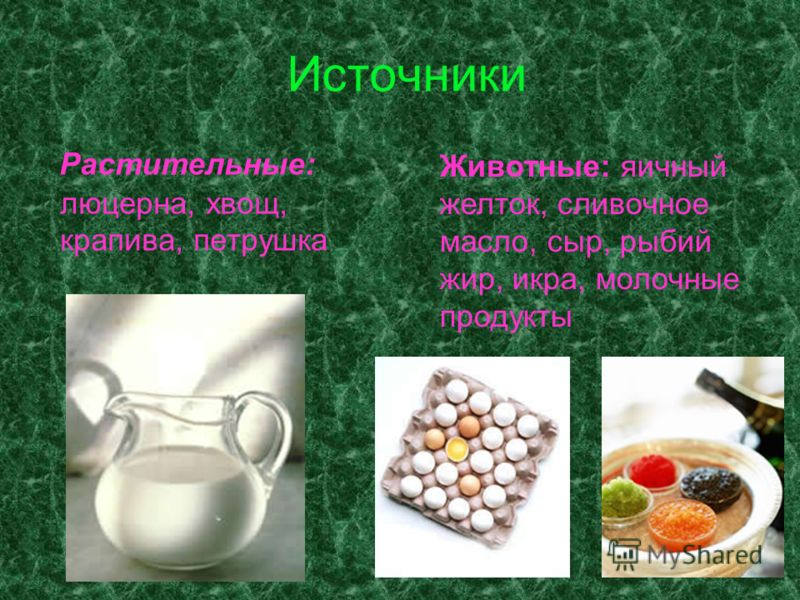 Источники Растительные: люцерна, хвощ, крапива, петрушка Животные: яичный желток, сливочное масло, сыр, рыбий жир, икра, молочные продукты
