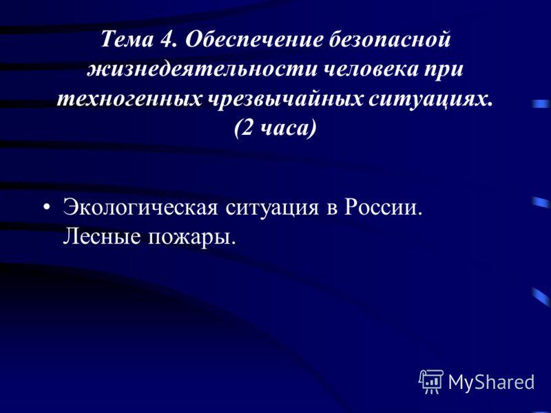 Тема 4. Обеспечение безопасной жизнедеятельности человека при техногенных чрезвычайных ситуациях. (2 часа) Экологическая ситуация в России. Лесные пожары.