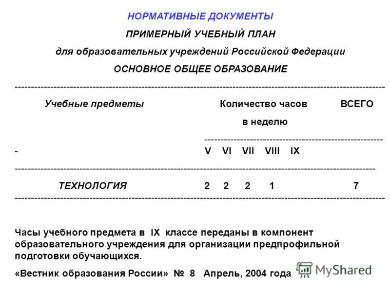 НОРМАТИВНЫЕ ДОКУМЕНТЫ ПРИМЕРНЫЙ УЧЕБНЫЙ ПЛАН для образовательных учреждений Российской Федерации ОСНОВНОЕ ОБЩЕЕ ОБРАЗОВАНИЕ ------------------------------------------------------------------------------------------------------------------ Учебные пре