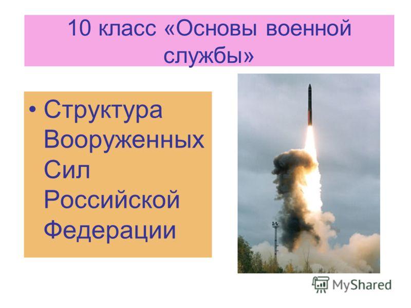 10 класс «Основы военной службы» Структура Вооруженных Сил Российской Федерации