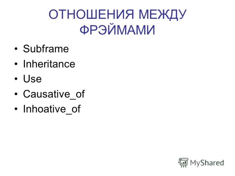 ОТНОШЕНИЯ МЕЖДУ ФРЭЙМАМИ Subframe Inheritance Use Causative_of Inhoative_of