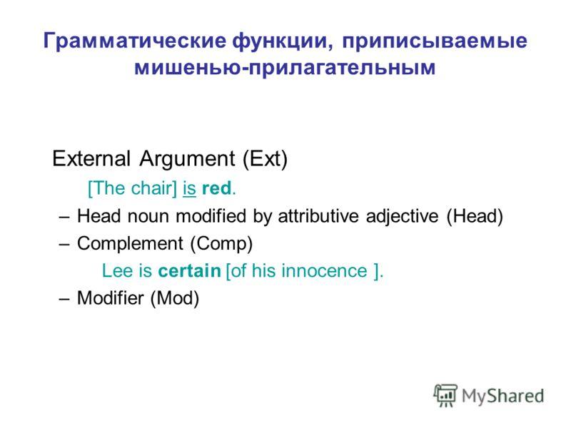 External Argument (Ext) [The chair] is red. –Head noun modified by attributive adjective (Head) –Complement (Comp) Lee is certain [of his innocence ]. –Modifier (Mod) Грамматические функции, приписываемые мишенью-прилагательным