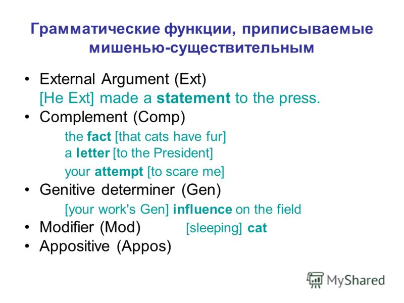 Грамматические функции, приписываемые мишенью-существительным External Argument (Ext) [He Ext] made a statement to the press. Complement (Comp) the fact [that cats have fur] a letter [to the President] your attempt [to scare me] Genitive determiner (