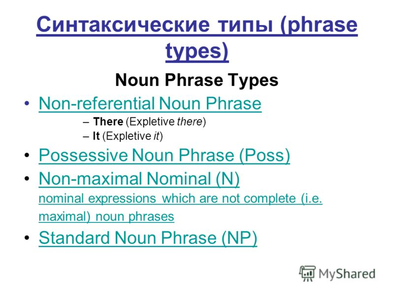 Синтаксические типы (phrase types) Noun Phrase Types Non-referential Noun Phrase –There (Expletive there) –It (Expletive it) Possessive Noun Phrase (Poss) Non-maximal Nominal (N) nominal expressions which are not complete (i.e. maximal) noun phrases