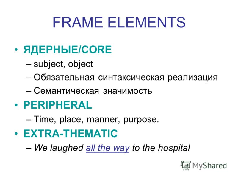 FRAME ELEMENTS ЯДЕРНЫЕ/CORE –subject, object –Обязательная синтаксическая реализация –Семантическая значимость PERIPHERAL –Time, place, manner, purpose. EXTRA-THEMATIC –We laughed all the way to the hospital