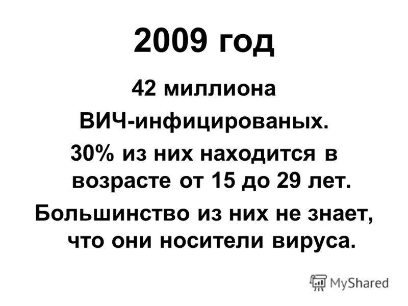 2009 год 42 миллиона ВИЧ-инфицированых. 30% из них находится в возрасте от 15 до 29 лет. Большинство из них не знает, что они носители вируса.