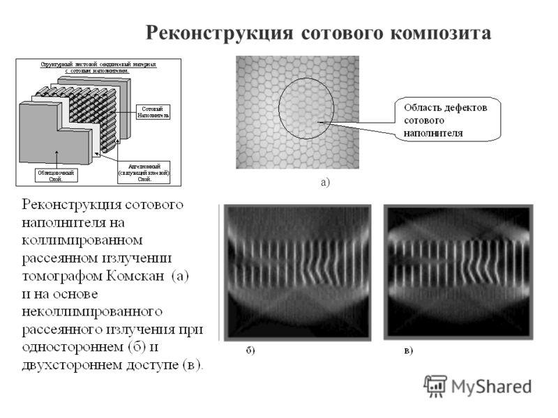 Реконструкция сотового композита а)