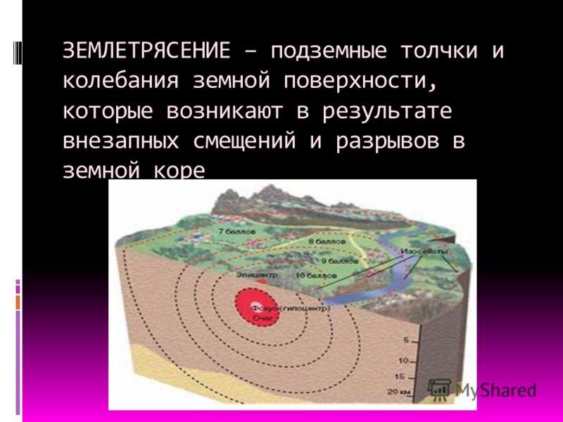 ЗЕМЛЕТРЯСЕНИЕ – подземные толчки и колебания земной поверхности, которые возникают в результате внезапных смещений и разрывов в земной коре