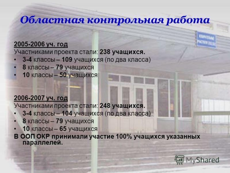 Областная контрольная работа 2005-2006 уч. год Участниками проекта стали: 238 учащихся. 3-4 классы – 109 учащихся (по два класса) 8 классы – 79 учащихся 10 классы – 50 учащихся 2006-2007 уч. год Участниками проекта стали: 248 учащихся. 3-4 классы – 1