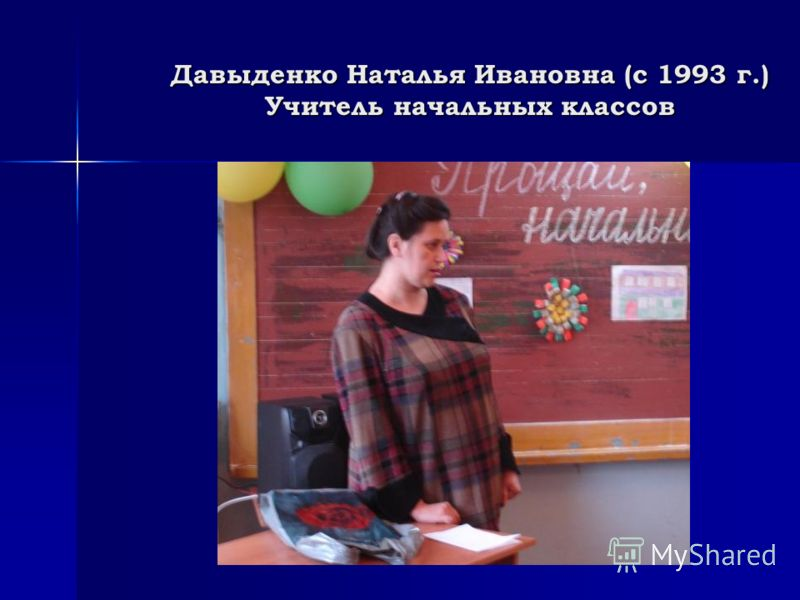 Давыденко Наталья Ивановна (с 1993 г.) Учитель начальных классов