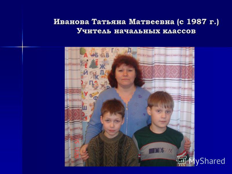 Иванова Татьяна Матвеевна (с 1987 г.) Учитель начальных классов