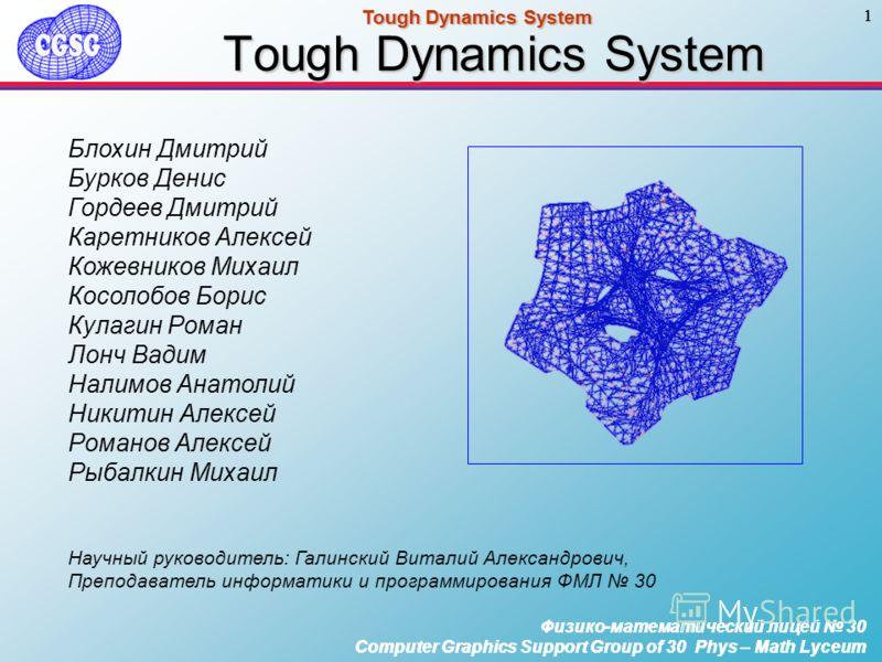 Физико-математический лицей 30 Computer Graphics Support Group of 30 Phys – Math Lyceum 1 Tough Dynamics System Физико-математический лицей 30 Computer Graphics Support Group of 30 Phys – Math Lyceum 1 Tough Dynamics System Физико-математический лице