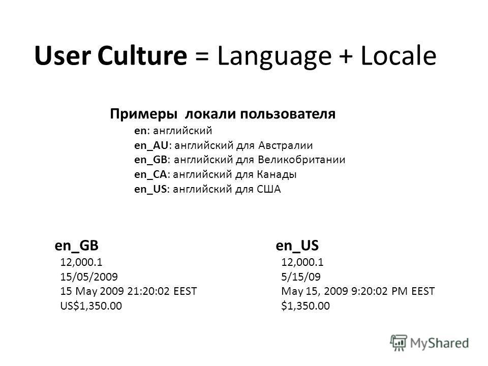 User Culture = Language + Locale Примеры локали пользователя en: английский en_AU: английский для Австралии en_GB: английский для Великобритании en_CA: английский для Канады en_US: английский для США en_US 12,000.1 5/15/09 May 15, 2009 9:20:02 PM EES
