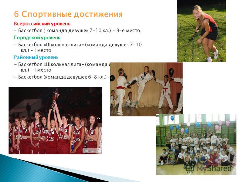 6 Спортивные достижения Всероссийский уровень - Баскетбол ( команда девушек 7-10 кл.) – 8-е место Городской уровень - Баскетбол «Школьная лига» (команда девушек 7-10 кл.) – I место Районный уровень - Баскетбол «Школьная лига» (команда девушек 7-10 кл