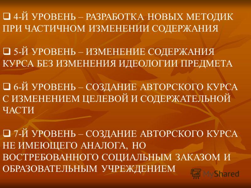 4-Й УРОВЕНЬ – РАЗРАБОТКА НОВЫХ МЕТОДИК ПРИ ЧАСТИЧНОМ ИЗМЕНЕНИИ СОДЕРЖАНИЯ 5-Й УРОВЕНЬ – ИЗМЕНЕНИЕ СОДЕРЖАНИЯ КУРСА БЕЗ ИЗМЕНЕНИЯ ИДЕОЛОГИИ ПРЕДМЕТА 6-Й УРОВЕНЬ – СОЗДАНИЕ АВТОРСКОГО КУРСА С ИЗМЕНЕНИЕМ ЦЕЛЕВОЙ И СОДЕРЖАТЕЛЬНОЙ ЧАСТИ 7-Й УРОВЕНЬ – СОЗД