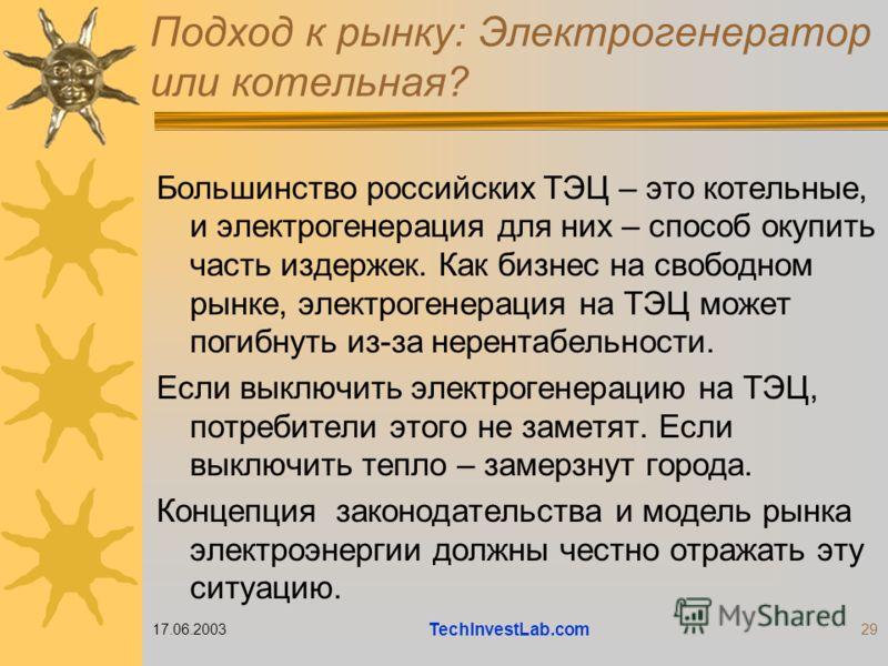 17.06.2003 TechInvestLab.com 29 Подход к рынку: Электрогенератор или котельная? Большинство российских ТЭЦ – это котельные, и электрогенерация для них – способ окупить часть издержек. Как бизнес на свободном рынке, электрогенерация на ТЭЦ может погиб