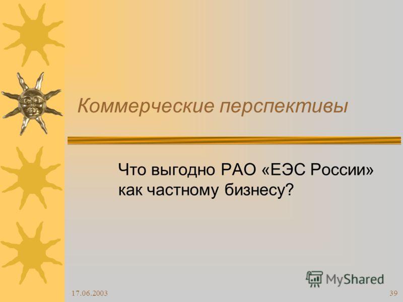 17.06.200339 Коммерческие перспективы Что выгодно РАО «ЕЭС России» как частному бизнесу?