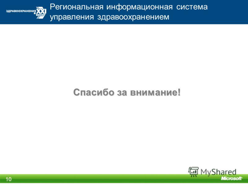 Региональная информационная система управления здравоохранением 10 Спасибо за внимание!