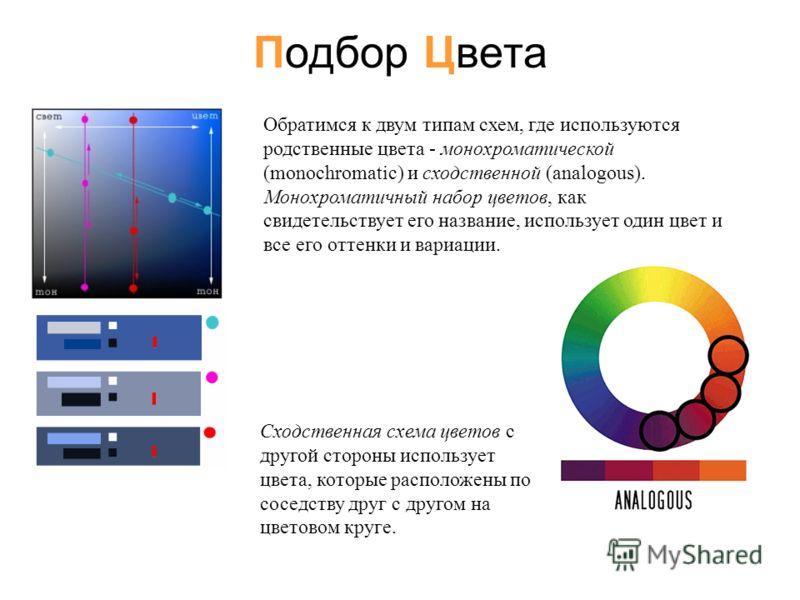 Обратимся к двум типам схем, где используются родственные цвета - монохроматической (monochromatic) и сходственной (analogous). Монохроматичный набор цветов, как свидетельствует его название, использует один цвет и все его оттенки и вариации. Подбор