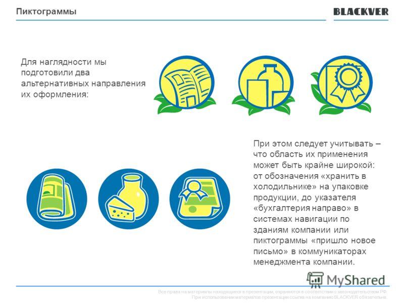 Все права на материалы находящиеся в презентации, охраняются в соответствии с законодательством РФ. При использовании материалов презентации ссылка на компанию BLACKVER обязательна. Пиктограммы Для наглядности мы подготовили два альтернативных направ