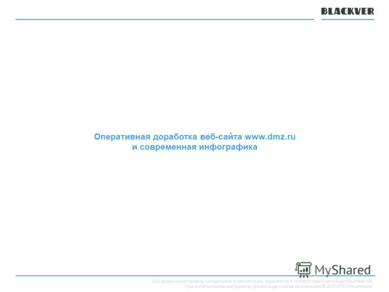 Все права на материалы находящиеся в презентации, охраняются в соответствии с законодательством РФ. При использовании материалов презентации ссылка на компанию BLACKVER обязательна. Оперативная доработка веб-сайта www.dmz.ru и современная инфографика