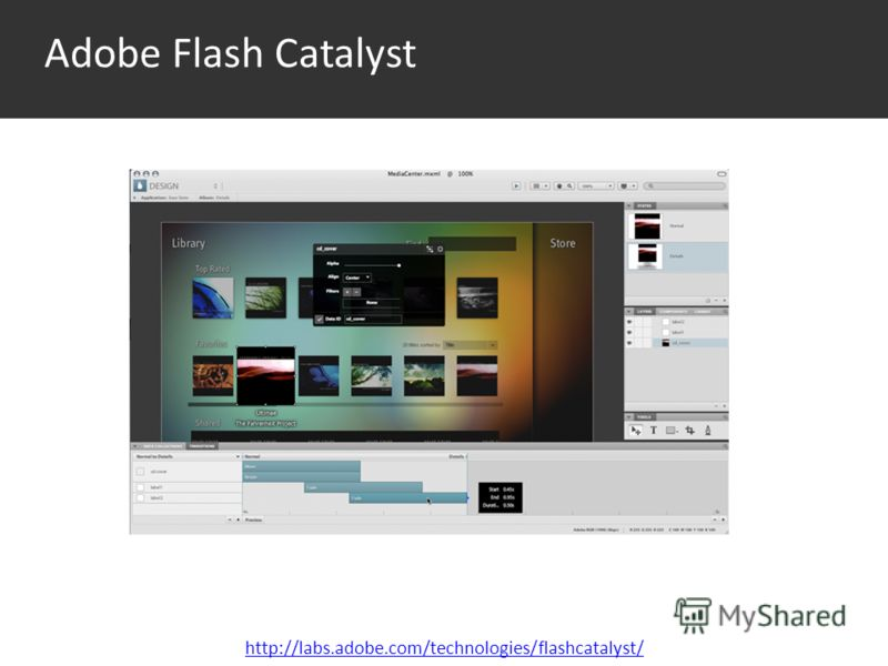 Среда http://labs.adobe.com/technologies/flashcatalyst/ Adobe Flash Catalyst