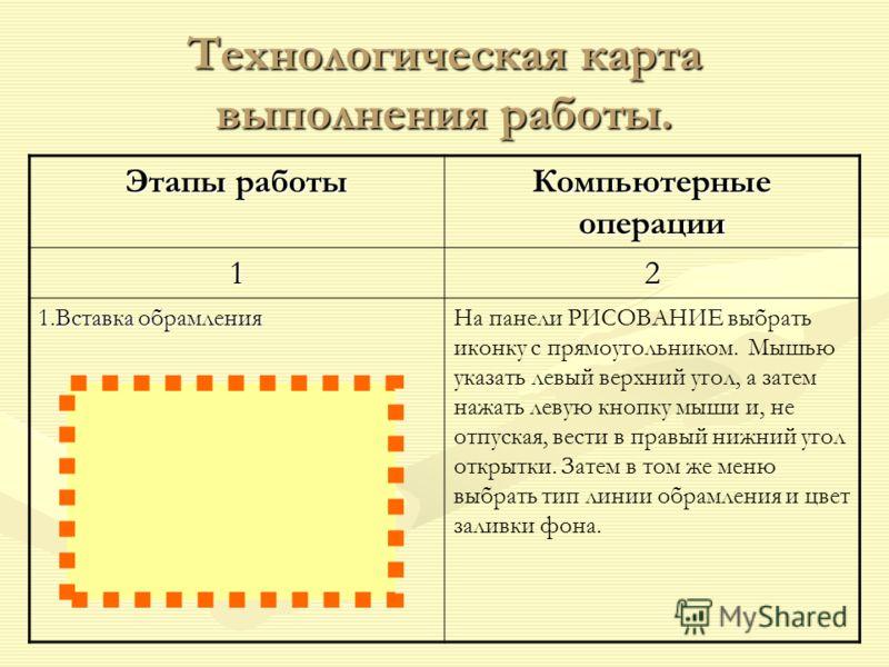 Технологическая карта выполнения работы. Этапы работы Компьютерные операции 12 1.Вставка обрамления На панели РИСОВАНИЕ выбрать иконку с прямоугольником. Мышью указать левый верхний угол, а затем нажать левую кнопку мыши и, не отпуская, вести в правы