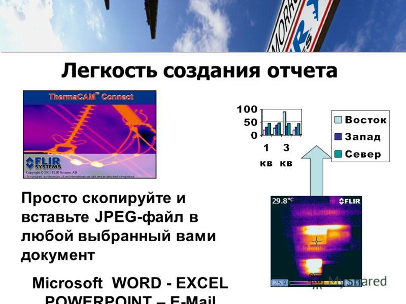 Просто скопируйте и вставьте JPEG-файл в любой выбранный вами документ Microsoft WORD - EXCEL POWERPOINT – E-Mail Легкость создания отчета