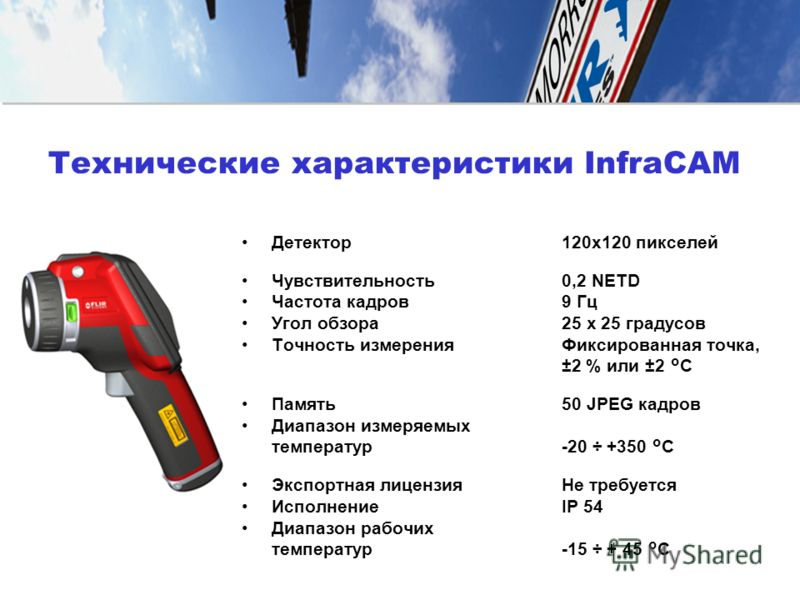 Детектор120x120 пикселей Чувствительность0,2 NETD Частота кадров9 Гц Угол обзора25 x 25 градусов Точность измеренияФиксированная точка, ±2 % или ±2 ° C Память50 JPEG кадров Диапазон измеряемых температур-20 ÷ +350 ° C Экспортная лицензияНе требуется