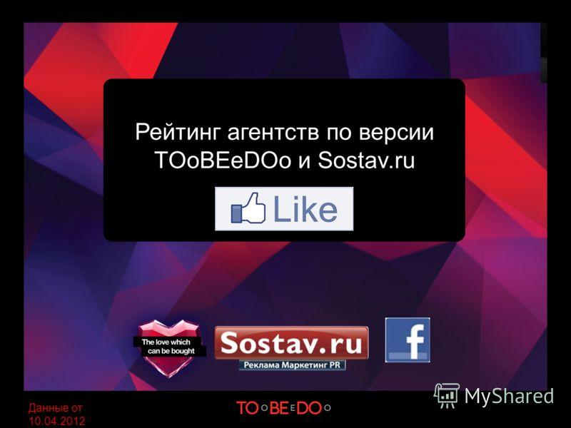 Рейтинг агентств по версии TOoBEeDOo и Sostav.ru Данные от 10.04.2012