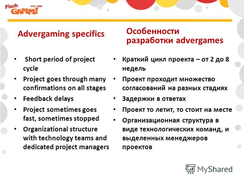 Краткий цикл проекта – от 2 до 8 недель Проект проходит множество согласований на разных стадиях Задержки в ответах Проект то летит, то стоит на месте Организационная структура в виде технологических команд, и выделенных менеджеров проектов Advergami