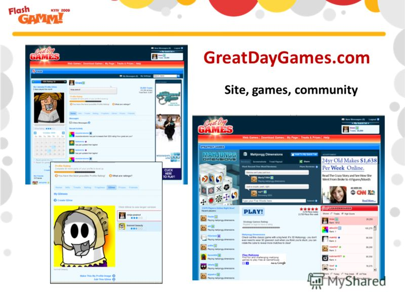 GreatDayGames.com Site, games, community