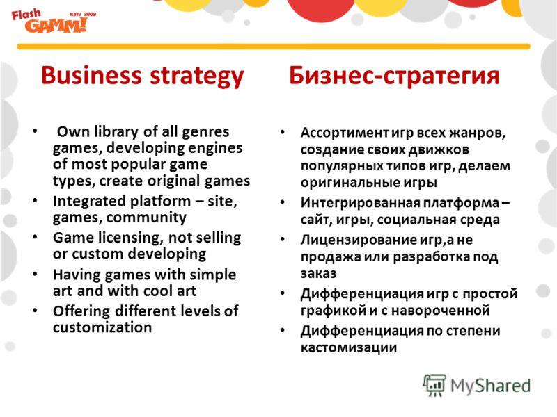 Ассортимент игр всех жанров, создание своих движков популярных типов игр, делаем оригинальные игры Интегрированная платформа – сайт, игры, социальная среда Лицензирование игр,а не продажа или разработка под заказ Дифференциация игр с простой графикой