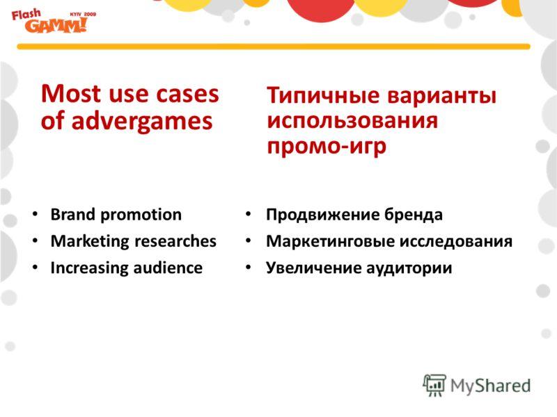 Продвижение бренда Маркетинговые исследования Увеличение аудитории Most use cases of advergames Типичные варианты использования промо-игр Brand promotion Marketing researches Increasing audience