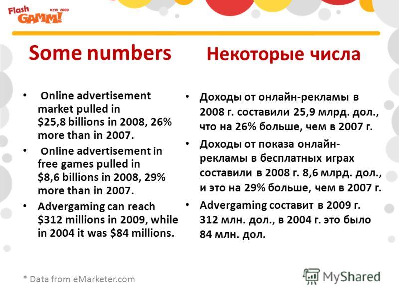 Доходы от онлайн-рекламы в 2008 г. составили 25,9 млрд. дол., что на 26% больше, чем в 2007 г. Доходы от показа онлайн- рекламы в бесплатных играх составили в 2008 г. 8,6 млрд. дол., и это на 29% больше, чем в 2007 г. Advergaming составит в 2009 г. 3