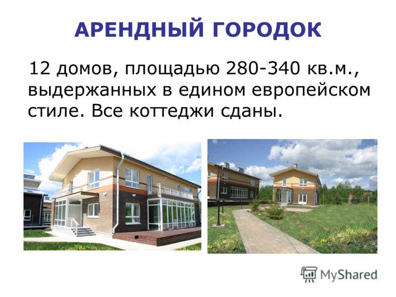 АРЕНДНЫЙ ГОРОДОК 12 домов, площадью 280-340 кв.м., выдержанных в едином европейском стиле. Все коттеджи сданы.