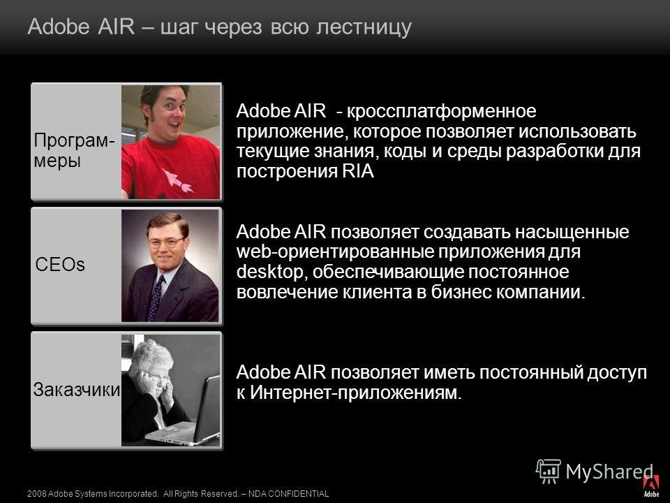 2008 Adobe Systems Incorporated. All Rights Reserved. – NDA CONFIDENTIAL Adobe AIR – шаг через всю лестницу Програм- меры CEOs Заказчики Adobe AIR - кроссплатформенное приложение, которое позволяет использовать текущие знания, коды и среды разработки
