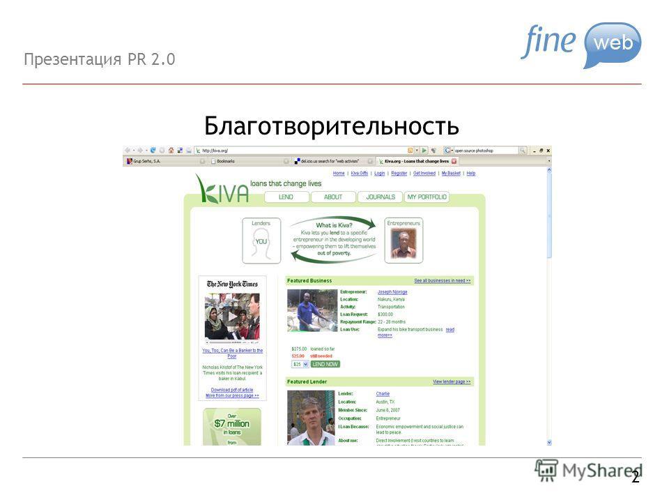 Благотворительность 2 Презентация PR 2.0