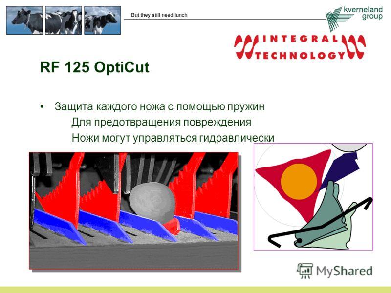 But they still need lunch RF 125 OptiCut Защита каждого ножа с помощью пружин Для предотвращения повреждения Ножи могут управляться гидравлически