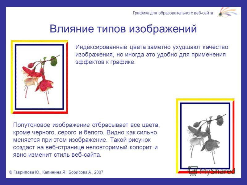 © Гаврилова Ю., Калинина Я., Борисова А., 2007 Графика для образовательного веб-сайта Влияние типов изображений Индексированные цвета заметно ухудшают качество изображения, но иногда это удобно для применения эффектов к графике. Полутоновое изображен