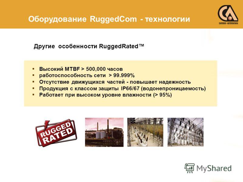 Высокий MTBF > 500,000 часов работоспособность сети > 99.999% Отсутствие движущихся частей - повышает надежность Продукция с классом защиты IP66/67 (водонепроницаемость) Работает при высоком уровне влажности (> 95%) Другие особенности RuggedRated Обо