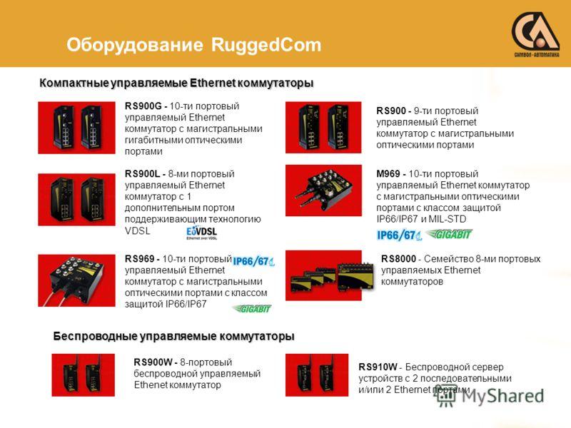 Оборудование RuggedCom RS900G - 10-ти портовый управляемый Ethernet коммутатор с магистральными гигабитными оптическими портами RS900L - 8-ми портовый управляемый Ethernet коммутатор с 1 дополнительным портом поддерживающим технологию VDSL RS969 - 10