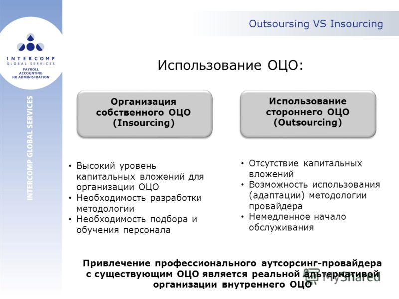 Outsoursing VS Insourcing Использование ОЦО: Организация собственного ОЦО (Insourcing) Использование стороннего ОЦО (Outsourcing) Высокий уровень капитальных вложений для организации ОЦО Необходимость разработки методологии Необходимость подбора и об