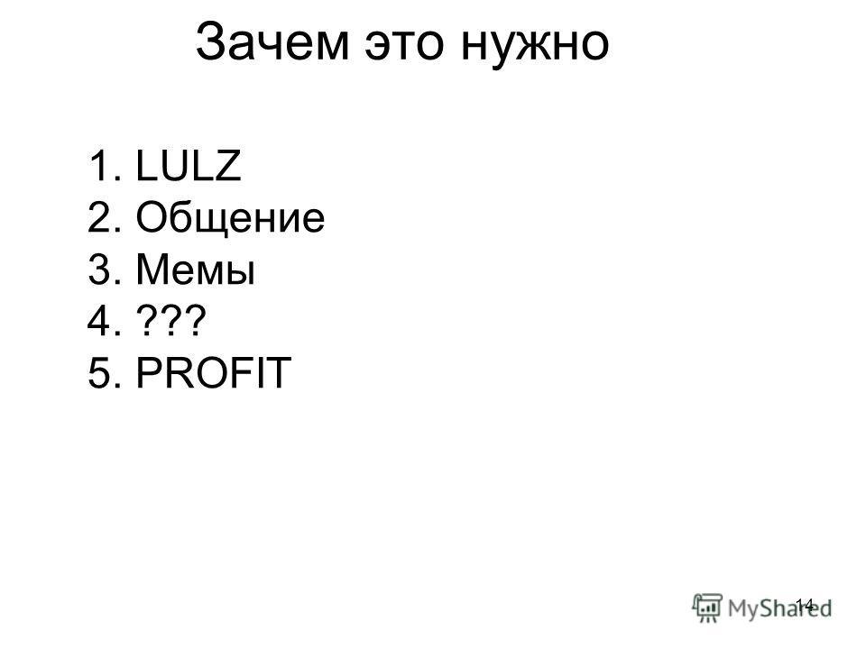 14 Зачем это нужно 1. LULZ 2. Общение 3. Мемы 4. ??? 5. PROFIT