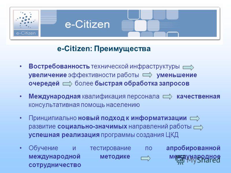 e-Citizen: Преимущества Востребованность технической инфраструктуры увеличение эффективности работы уменьшение очередей более быстрая обработка запросов Международная квалификация персонала качественная консультативная помощь населению Принципиально