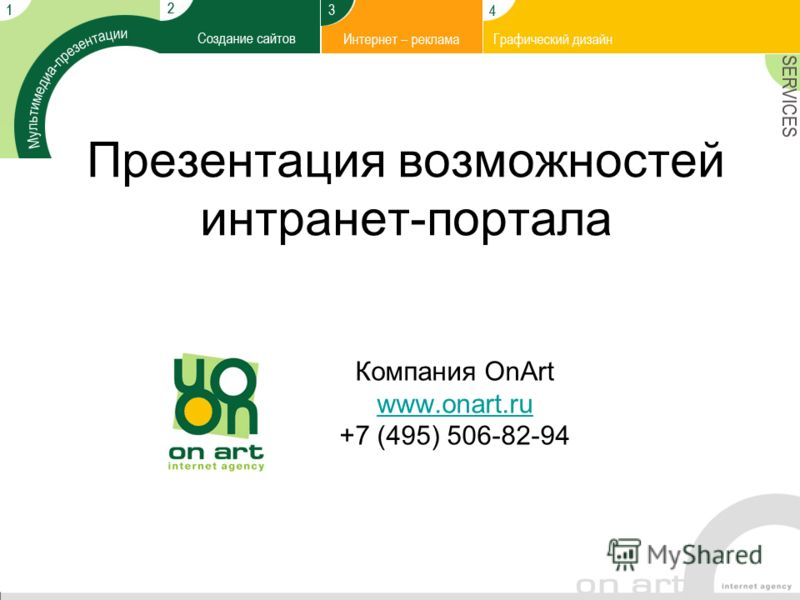Презентация возможностей интранет-портала Компания OnArt www.onart.ru +7 (495) 506-82-94 www.onart.ru