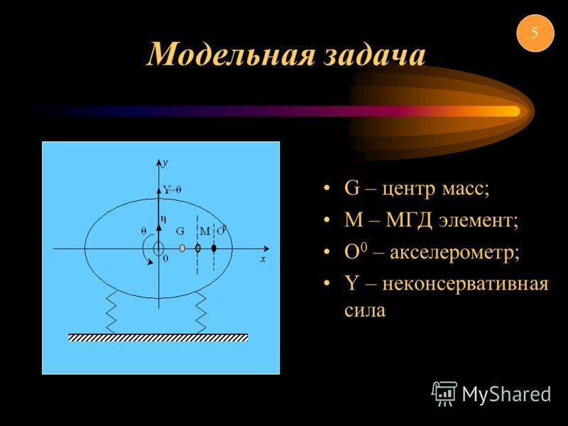 Модельная задача G – центр масс; M – МГД элемент; О 0 – акселерометр; Y – неконсервативная сила 5